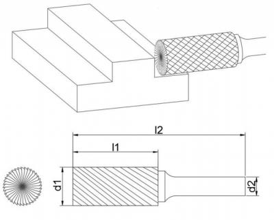 Борфрезы цилиндр (A,B,C)