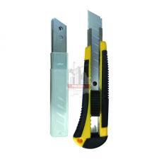 Нож технический 18мм усиленный обрезиненый корпус  (+ 3 запасных лезвия) BIBER