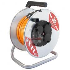 Удлинитель силовой на металл. катушке  ПВС 3x1.5 30м 16А, 4 встр. розетки с з/к LUX К4-Е-30  IP44