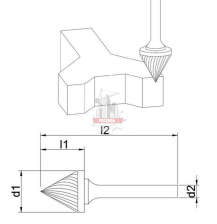 Зенкер 60° J 12х10х6х60