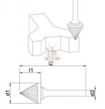Зенкер 60° J 16х13х6х55